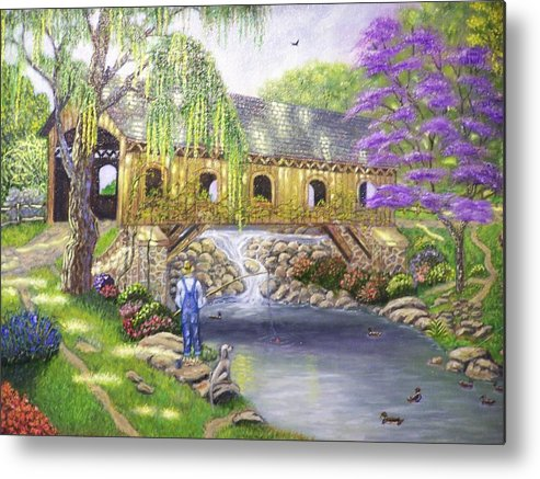 Landscape Metal Print featuring the painting Covered Bridge by Charles Vaughn