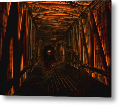 Metal Print featuring the photograph Covered Bridge Illumination by Martin Morehead