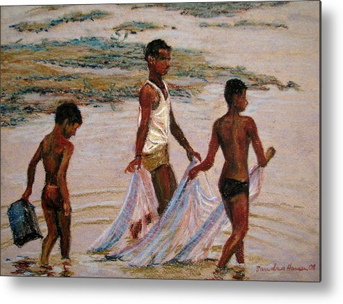 Crab Fishing Metal Print featuring the painting Crab Dance by Art Nomad Sandra Hansen