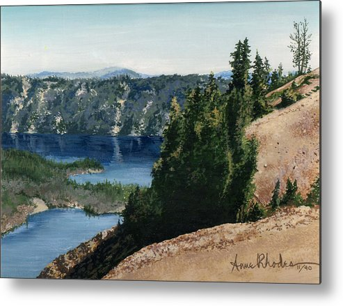Landscape Metal Print featuring the painting Crater Lake Oregon by Anne Rhodes