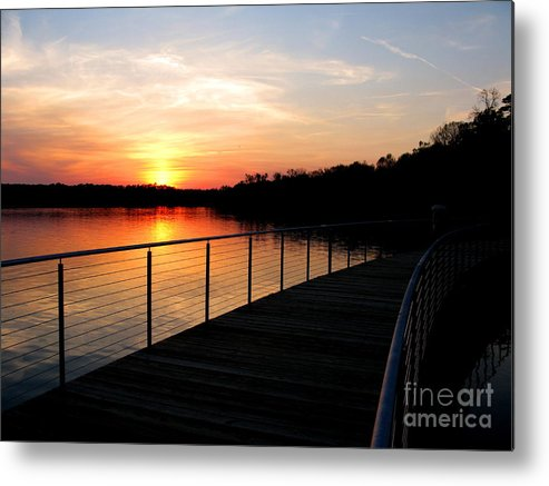 Water Metal Print featuring the photograph Crossing The Bridge by PJ Cloud
