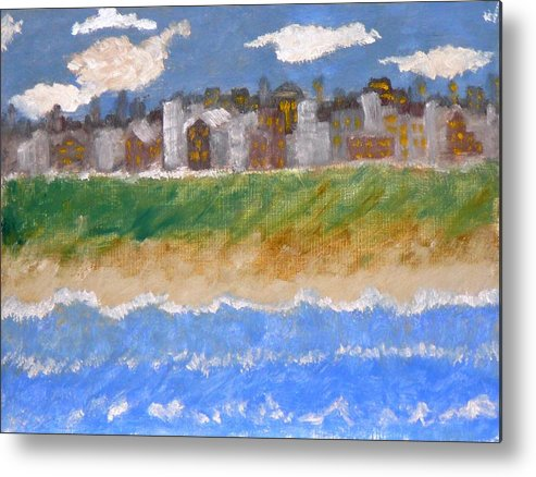 Seascape Metal Print featuring the painting Crowded Beaches by R B