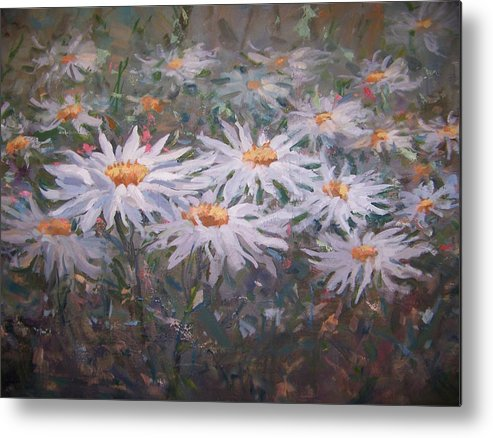Field Of Daisies. Metal Print featuring the painting Daisies by Bart DeCeglie