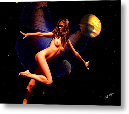 Fairy Metal Print featuring the painting Dancing In Space by Tray Mead