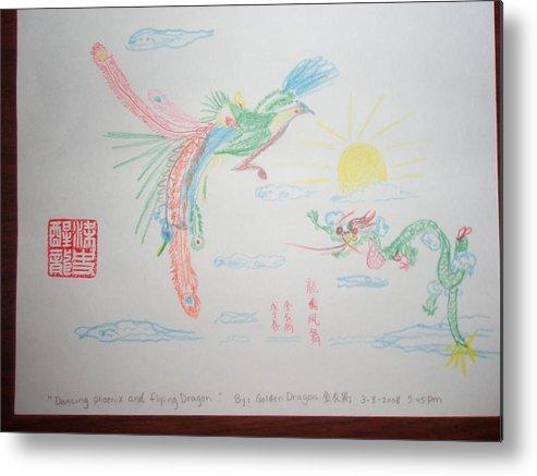 Phoenix Metal Print featuring the drawing Dancing Phoenix Flying Dragon by Golden Dragon