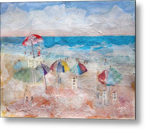 Beach Metal Print featuring the mixed media Day At The Beach by Arline Wagner