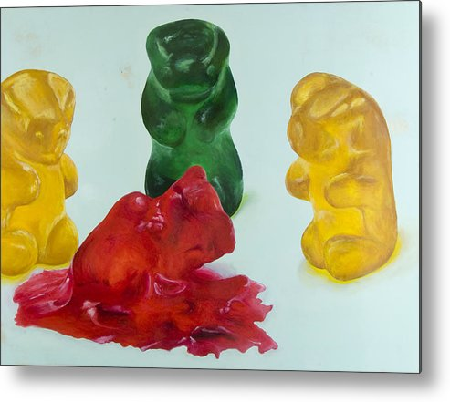 Gummy Bear Metal Print featuring the painting Death Of A Gummy Bear II by Josh Bernstein