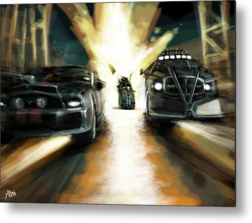 Car Metal Print featuring the digital art Deathrace by Alvin Goh