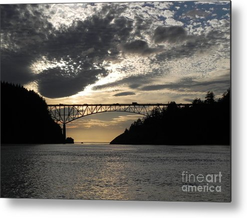 Deception Pass Bridge Metal Print featuring the photograph Deception Pass Bridge Sunset Two by Leslie Wright