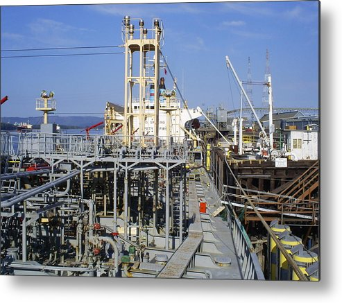 Deck Metal Print featuring the photograph Deck Of A Fuel Ship by Alan Espasandin