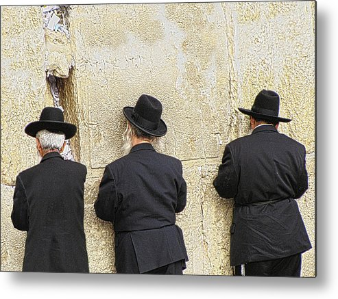 Western Wall Metal Print featuring the photograph Deep In Prayer by Helaine Cummins