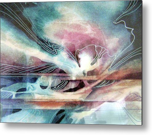 Abstract Watercolor Based On Water And Sky Movements From Sailing Experiences. Metal Print featuring the painting Deliverance by Shirley Hathaway