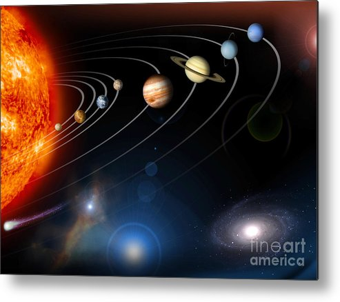Stars Metal Print featuring the digital art Digitally Generated Image Of Our Solar by Stocktrek Images