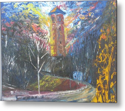 Tower Buildings Parks Public Places Forest Wildlife Water Nature Ponds Birds Ducks Boats Sailboats Wharfs Canteen Metal Print featuring the painting Dingle Tower by Marshall Desveaux