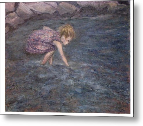 Child Metal Print featuring the painting Discovery by Connie Freid