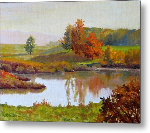 Landscape Metal Print featuring the painting Distant Maples by Keith Burgess
