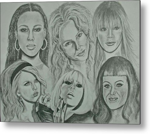 Singers Metal Print featuring the drawing Divas Now by Sandra Valentini