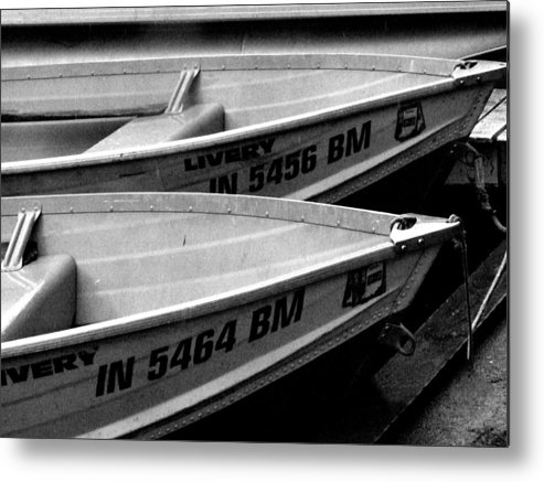Nautical. Indiana Landscape Metal Print featuring the photograph Docked Rowboats by Michael L Kimble