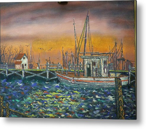 Landscape Metal Print featuring the painting Dockside by Charles Vaughn