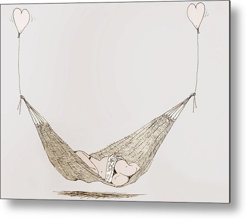 Hammock Metal Print featuring the drawing Dolce Far Niente by C H Apperson