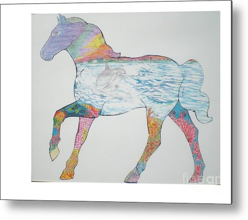 Portrait Of A Horse Design Metal Print featuring the drawing Dolpin Horse by Hal Newhouser