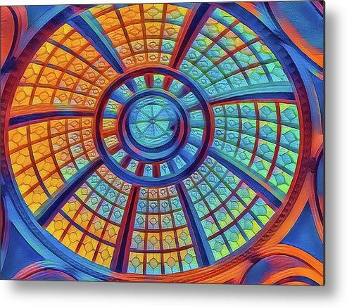 Abstract Metal Print featuring the mixed media Dome Of Colors by Jonathan Nguyen