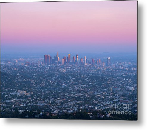 Los Angeles Metal Print featuring the photograph Downtown Los Angeles Skyline At Sunset by Konstantin Sutyagin
