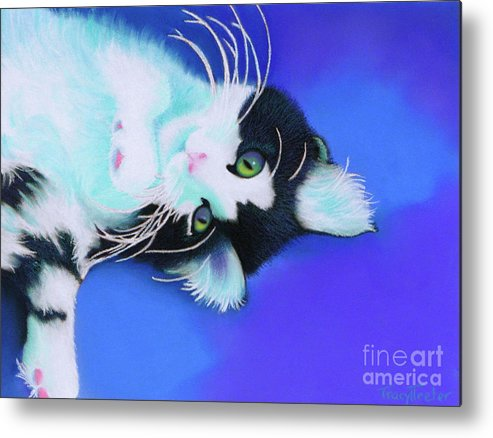 Cat Metal Print featuring the pastel Dreamer by Tracy L Teeter