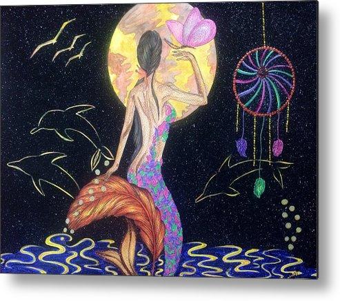 Dreams Metal Print featuring the painting Dreaming Mermaid by Tejsweena Renu Krishan