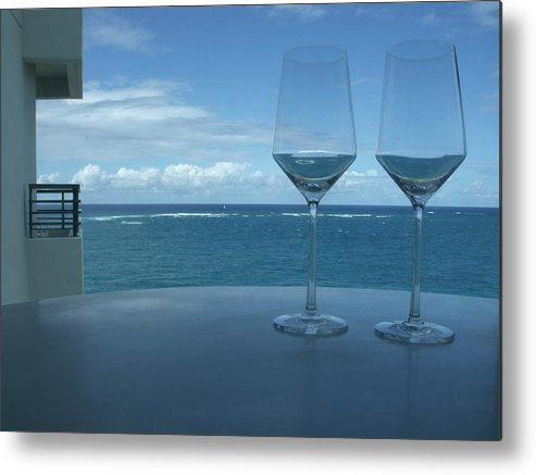 Wine Glasses Metal Print featuring the photograph Drinks On The Terrace by Anna Villarreal Garbis