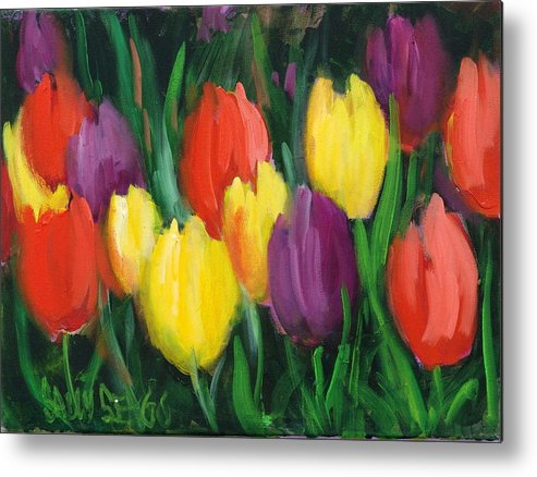 Flowers Metal Print featuring the painting Dutch Tulips by Sally Seago