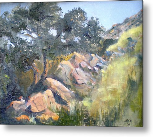 Rock Out-crop Metal Print featuring the painting Eagle Crest View by Bryan Alexander