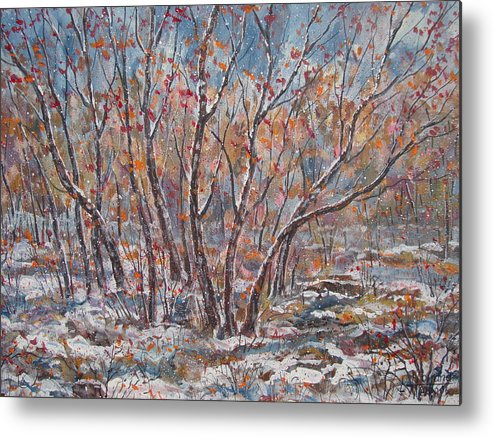 Landscape Metal Print featuring the painting Early Snow. by Leonard Holland