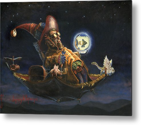 Wizard Metal Print featuring the painting Edwin And Norbert At It Again by Jeff Brimley