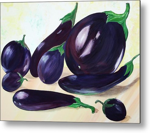 Vegetables Metal Print featuring the painting Eggplants by Murielle Hebert