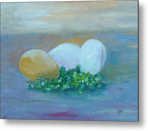 Eggs Metal Print featuring the painting Eggs And Capers by Conor Murphy