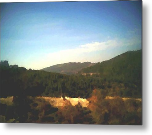 Sky.blue.little Clouds.foresty Hills.low Hills.forest.valley.trees.rest.silence.calm. Metal Print featuring the digital art Ein-kerem Valley by Dr Loifer Vladimir