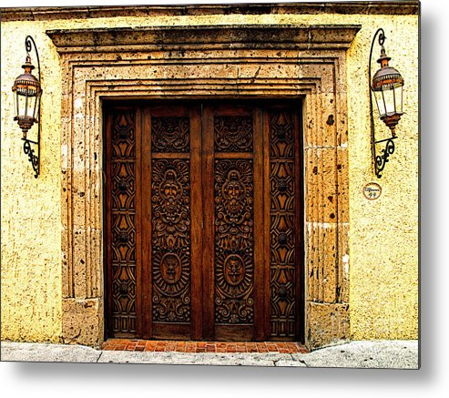 Tlaquepaque Metal Print featuring the photograph Elaborate Puerta by Mexicolors Art Photography