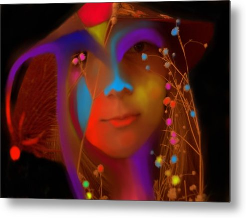 Face Metal Print featuring the digital art Electric Compassion by Peter Shor