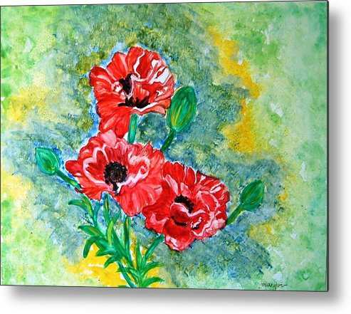 Poppies Flowers Red Yellow Green Blue Acrylic Watercolor Yupo Elegant Landscape Metal Print featuring the painting Elegant Poppies by Manjiri Kanvinde