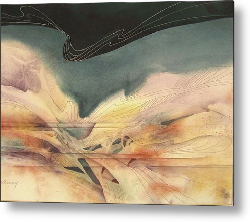 Abstract Watercolor Based On Water And Sky Images During Sailing Expeditions Metal Print featuring the painting Enchantment by Shirley Hathaway