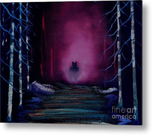Metal Print featuring the painting Encounter In The Forrest by Dell Justice
