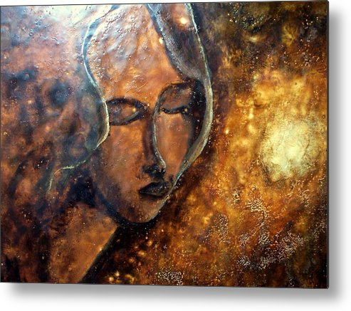 Portrait Metal Print featuring the painting Enlightenment by Karla Phlypo-Price