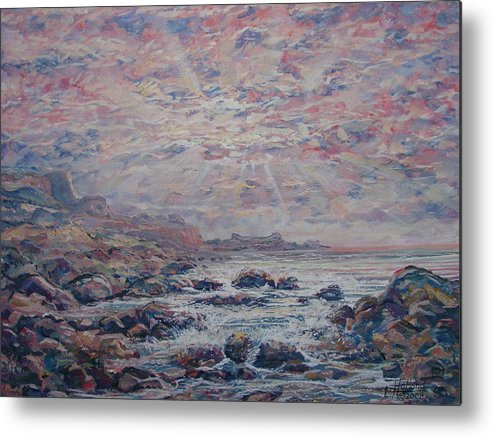 Seascape Metal Print featuring the painting Evening At The Beach by Leonard Holland