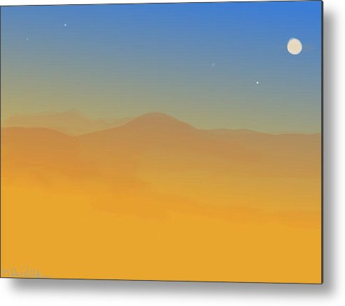 Landscape Metal Print featuring the painting Evening Haze by Margot Paisley