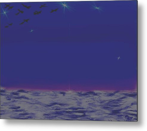 Late Evening.violet Dark Sky.rest.little Stars.last Ray Of Sun.sea.waves.silence. Birds.quiet. Metal Print featuring the digital art Evening.birds by Dr Loifer Vladimir