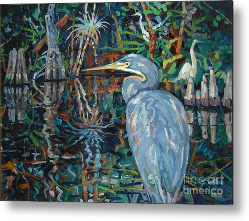 Blue Herron Metal Print featuring the painting Everglades by Donald Maier