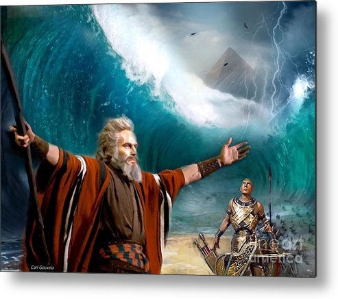 Exodus Metal Print featuring the digital art Exodus Moses And Pharaoh Of Egypt by Carl Gouveia