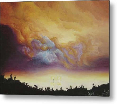 Louisiana Painting Metal Print featuring the painting Eye Of Rita by Sarah Lonthier