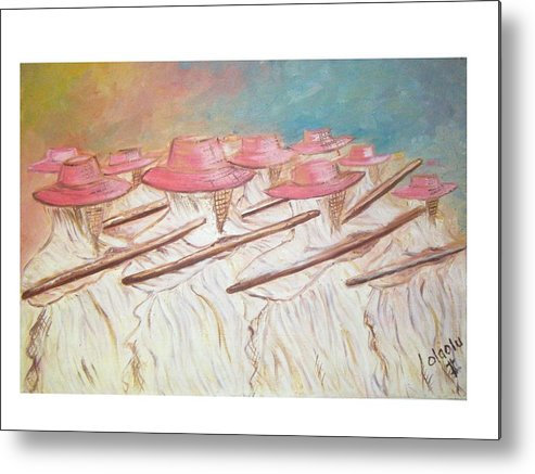 Abstract Metal Print featuring the painting Eyo Festival by Olaoluwa Smith